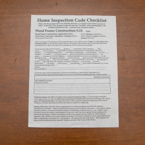 Home Insp. Code Checklist - Wood Frame Constr. Example Page